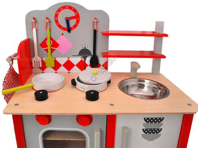 DREWNIANA kuchnia KUCHENKA dla dzieci + garnki Zabawki AGD -> Kuchnia Dla Dzieci Najtaniej