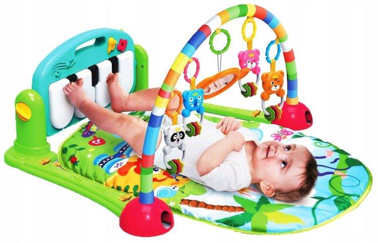 MATA EDUKACYJNA Z PIANINKIEM + GRZECHOTKI GRYZAKI Zabawki Dla niemowląt